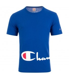 Camiseta Champion Reverse Weave Big Script Logo 212380-BS008 para hombre en color azul, descubre más modelos de Champion Rochester y Premium en chemasport.es