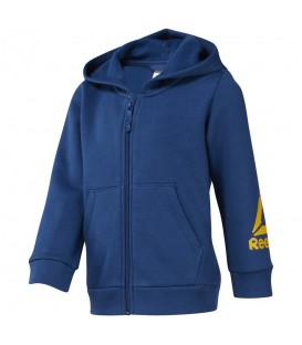 Chaqueta Reebok Boys Training Essentials Fullzip Fleece Hoody DJ3083 en color azul, chaqueta cálida para niños, disponible en chemasport.es