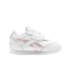 Zapatillas para niños pequeños Reebok Royal Classic Jogger CN4811 en color blanco y con toques en colo rosa y cierre de velcro en chemasport.es
