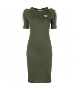 Vestido adidas 3 bandas DH3149 para mujer en color verde, descubre más modelos de la colección adidas adicolor en chemasport.es