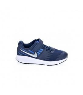Zapatillas multifuncionales para niños Nike Star Runner PSV 921443-406 de color azul marino con cordones y velcro al mejor precio en chemasport.es
