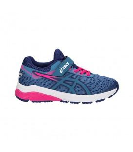 Zapatillas de running para niños Asics GT-1000 7 PS 1014A006-400 de color azul con cierre de velcro y cordones al mejor precio en chemasport.es