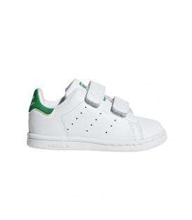 Zapatillas para niños con cierre de velcro adidas Stan Smith CF I BZ0520 blanco y verde al mejor precio en chemasport.es