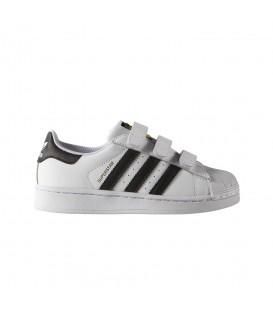 Zapatillas para niños adidas Superstar CF C B26070 con cierre de velcro blanco y negro al mejor precio en chemasport.es