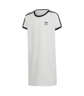 Vestido adidas Trefoil DV2894 para mujer de color blanco con rayas míticas de adidas en las mangas en contraste al mejor precio en chemasport.es