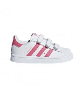 Zapatillas para niños con cierre de velcro adidas Superstar CF I CG6638 de color blanco y rosa. Otros modelos de adidas al mejor precio en chemasport.es
