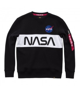 SUDADERA ALPHA INDUSTRIES NASA INLAY 178308 AZUL MARINO