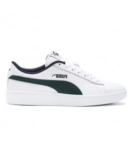 Zapatillas para niños Puma Smash V2 L Junior 365170-10 de color blanco y verde al mejor precio en chemasport.es