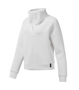 Sudadera para mujer Reebok training Supply cowl neck DP5611 de color blanco al mejor precio en chemasport.es