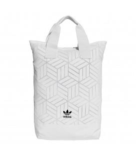 Mochila unisex adidas 3D DV0201 de color blanco con estampado geométrico al mejor precio en chemasport.es