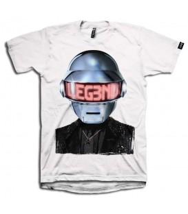 Comprar camiseta unisex Leg3nd de color blanco con la imagen de Daft Punk estampada en la parte frontal. Otros modelos de Leg3nd en chemasport.es