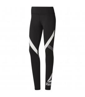 Comprar mallas de fitness para mujer Reebok Wor Big Delta DU4725 de color negro y blanco al mejor precio en chemasport.es