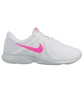 Comprar deportivas de running Nike Revolution 4W AJ3491-101 de color blanco y rosa al mejor precio en chemasport.es