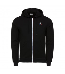 Comprar chaqueta con cremallera y capucha Le Coq Sportif Essentiels 1820035 de color negro al mejor precio en chemasport.es