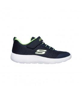 Comprar deportivas para niños Skechers Dyna-Lite 98120L de color azul marino con velcro y cordones al mejor precio en chemasport.es