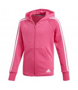 Chaqueta con capucha para niños adidas must haves 3 bandas DX2456 de color rosa al mejor precio en chemasport.es