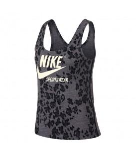 Camiseta de entrenamiento para mujer Nike Gym Vintage Leopard AR3810-010 de color gris al mejor precio en chemasport.es