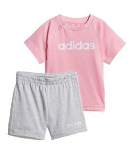 Comprar conjunto para niños adidas Linear Summer DV1269 de color gris y rosa al mejor precio en chemasport.es