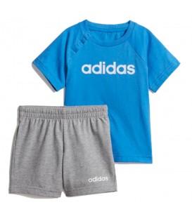 Conjunto para niños adidas linear summer DV1263 de color gris y azul al mejor precio en chemasport.es