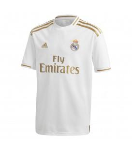 Camiseta de fútbol adidas primera equipación Real Madrid J DX8838 de color blanco y dorado DX8838 al mejor precio en chemasport.es