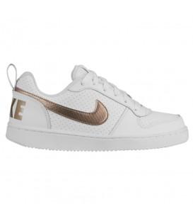Comprar deportivas para mujer y niños Nike Court Borough Low EP BV0745-100 de color blanco y dorado al mejor precio en chemasport.es