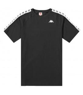 Comprar camiseta para hombre Kappa Coen de color negro con el logo de Kappa en los laterales al mejor precio en chemasport.es
