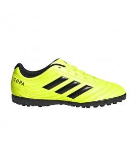 Botas de fútbol para niños adidas Copa 19.4 TF J de color amarillo al mejor precio en tu tienda de deportes online chemasport.es