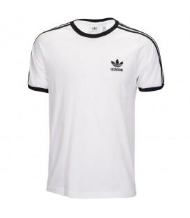 Camiseta unisex adidas 3 bandas CW1203 de color blanco con bandas de adidas en color negro al mejor precio en chemasport.es