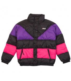 Cazadora acolchada para el frío Fila W Reilly Puff de color negro y violeta para mujer al mejor precio en tu tienda de moda online Chema Sneakers.