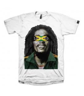 Camiseta unisex para hombre y mujer Leg3nd Bob Marley de color blanco y manga corta al mejor precio en chemasport.es