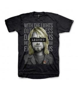 Camiseta para hombre y mujer de manga corta en color negro Leg3nd Kurt Cobain al mejor precio en tu tienda de moda barata chemasport.es
