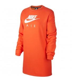 Vestido holgado para mujer con manga larga de color naranja Nike Air al mejor precio en tu tienda de deportes online chemasport.es