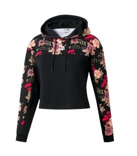 Sudadera para mujer con capucha y estampado de flores de la marca Puma al mejor precio en tu tienda de deportes online chemasport.es