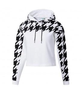 Sudadera corta con capucha para mujer Puma Graphic Hoodie de color blanco y negro con estampado pata de gallo al mejor precio en chemasport.es