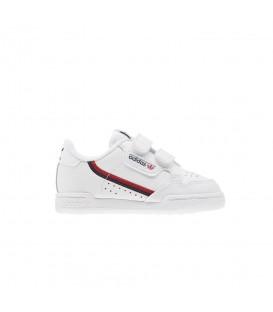 Zapatillas de niños con cierre de velcro adidas Continental 80 CF EL EH3230 de color blanco al mejor precio en tu tienda de deportes chemasport.es