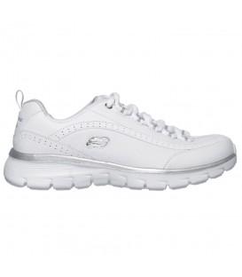 Deportivas para caminar de mujer Skechers Synergy 2.0 de color blanco con plantilla de memory foam al mejor precio en chemasport.es