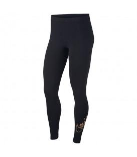 Mallas de moda sportwear para mujer Nike de color negro con logo dorado glitter de la marca al mejor precio en chemasport.es