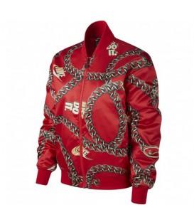 Chaqueta de satén en color rojo de Nike con estampado de cadenas al mejor precio en chemasport.es