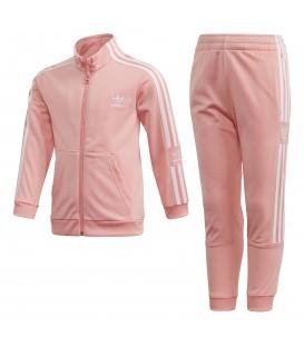 Chándal para niños adidas recycled de color rosa con pantalón y chaqueta con cremallera al mejor precio en chemasport.es