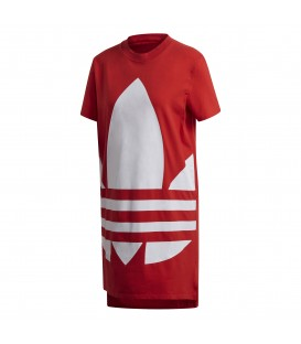 Vestido para mujer adidas Large Logo Tee FR7173 de color rojo al mejor precio en tu tienda de deportes online chemasport.es