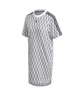 Vestido para mujer estilo camiseta adidas mini tréboles FM1069 de color blanco con logos del trébol de adidas al mejor precio en chemasport.es