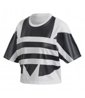 Camiseta para mujer con corte holgado adidas Large logo FM2564 de color blanco y negro al mejor precio en chemasport.es