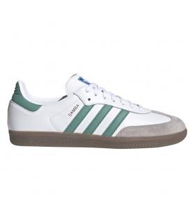 Deportivas para hombre y mujer adidas Samba OG de color blanco y verde con refuerzos de ante al mejor precio en chemasport.es