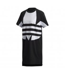 Vestido camiseta para mujer adidas Logo FR7174 de color negro con logo de adidas en la parte frontal en chemasport.es