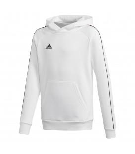 Sudadera de fútbol para niños adidas Core 18 Junior de color blanco con capucha al mejor precio en chemasport.es