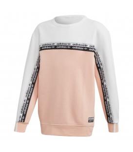 Sudadera para niños con cuello redondo adidas Crew FM4387 de color rosa con logo de adidas al mejor precio en chemasport.es