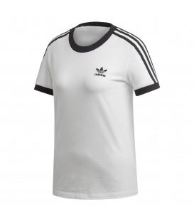 Camiseta para mujer adidas 3 bandas W ED7483 de color blanco al mejor precio en tu tienda de deportes online chemasport.es