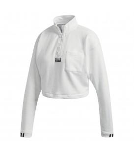 Sudadera corta de manga larga adidas cropped de color blanco FM2505 al mejor precio en tu tienda de moda online Chema Sneakers