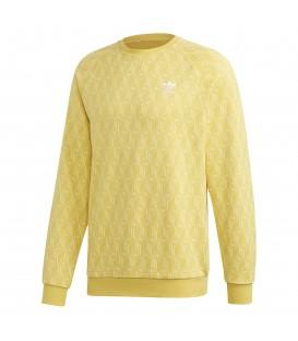 Sudadera para hombre con cuello redondo y manga larga adidas allover print FM3427 de color amarillo al mejor precio en chemasport.es