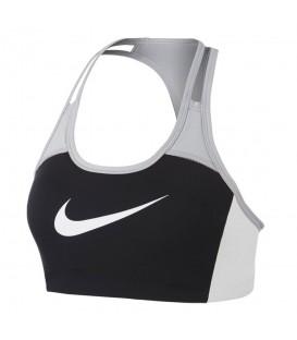 Sujetador deportivo de sujeción media Nike Swoosh de color gris para tus entrenamientos diarios al mejor precio en chemasport.es